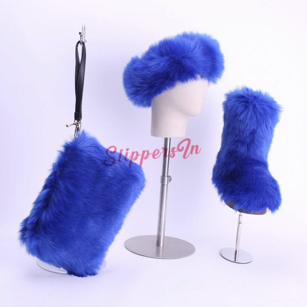 Faux Fox Fur Boots Solid Color Set for