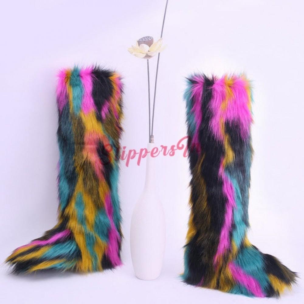 Faux Fox Fur Boots Rainbow Furry Over