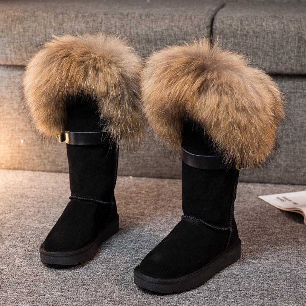Luxury Women's Fox Fur Boots Fluffy