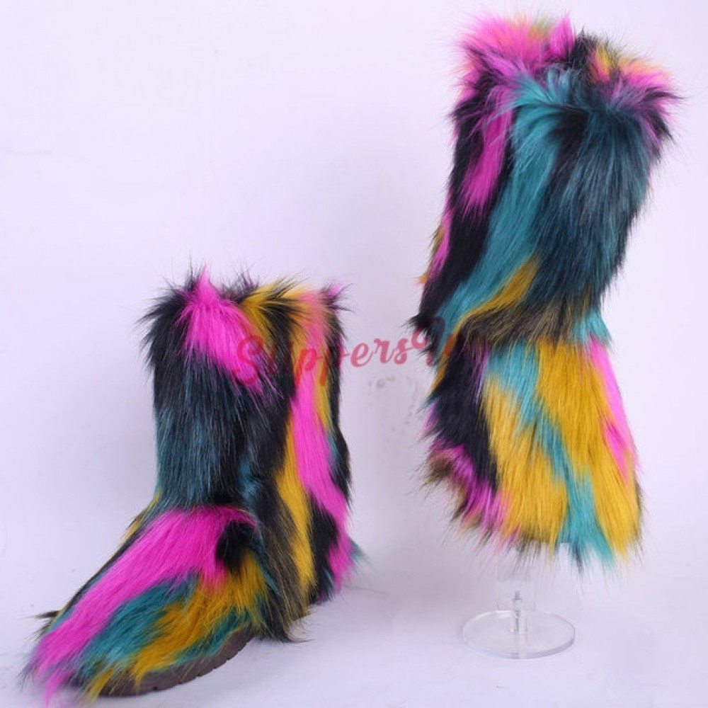 Fluffy Rainbow Faux Fur Boots Set with