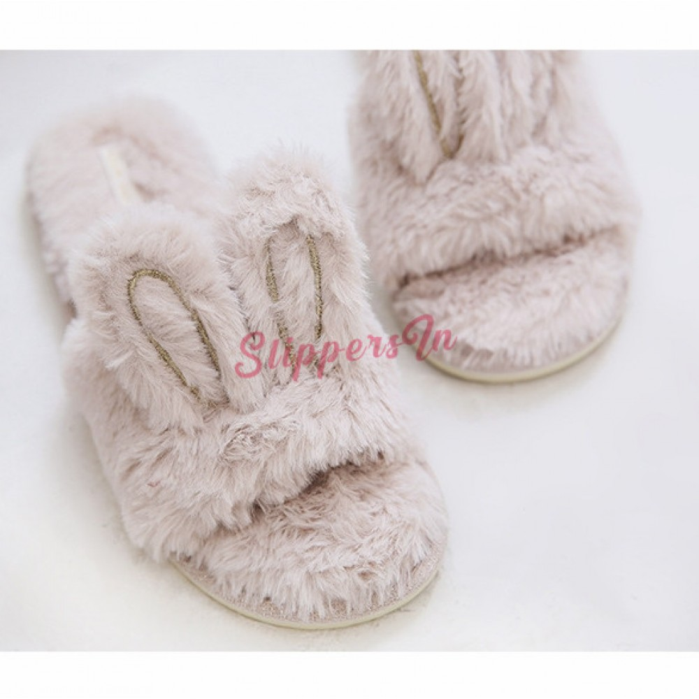 4Kidz Girls Bunny Design Slippers Open Toe Mules