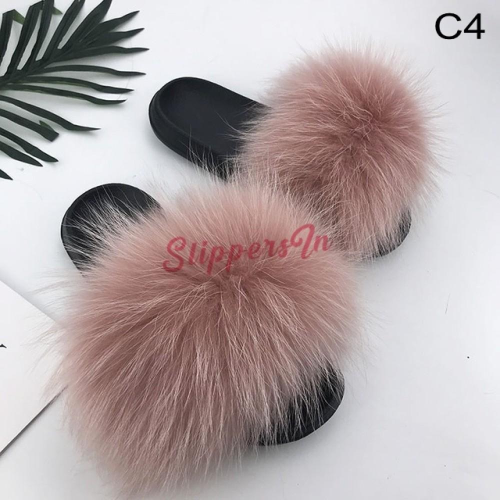 Fluffy Fox Fur Slides Bright Yellow Big