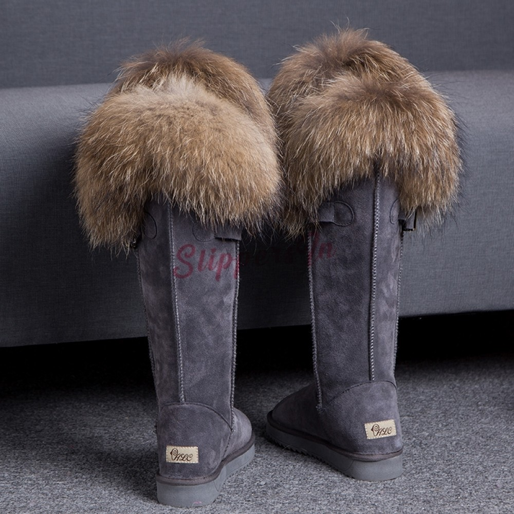 Chic Women's Tall Fur Boots Suede
