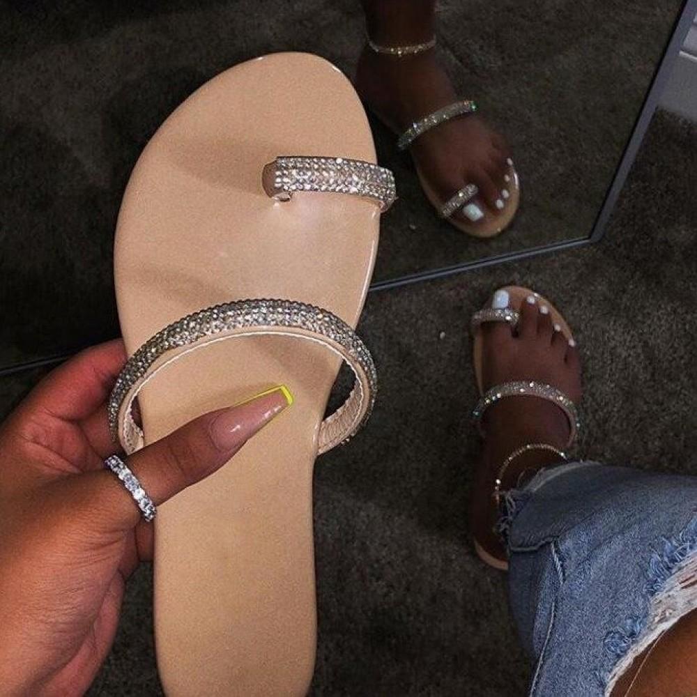 Shiny Toe Ring Sandals Rhinestones