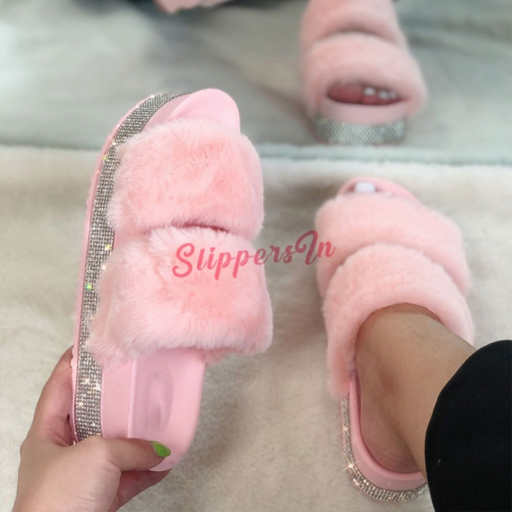 Pink Faux Fur Fluffy Furry Slippers//Platform Slippers