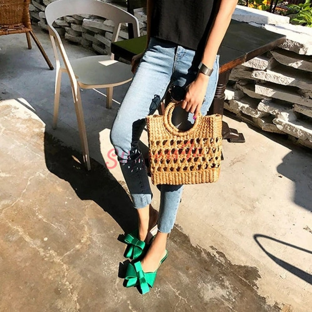 Pointed Toe Slippers Bow Flat Heel Sandals