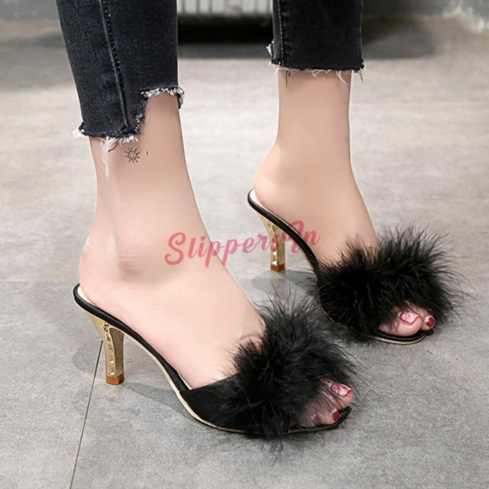Womens High Heel Fur Slippers Chic