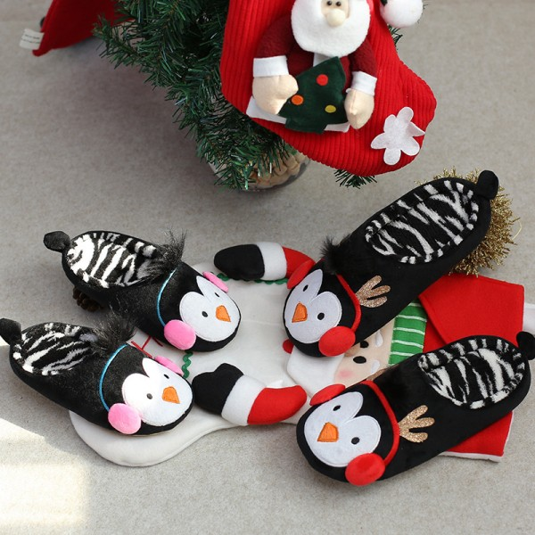 Christmas Penguin Slippers for Adults and Kids Family Animal Scuff Slippers