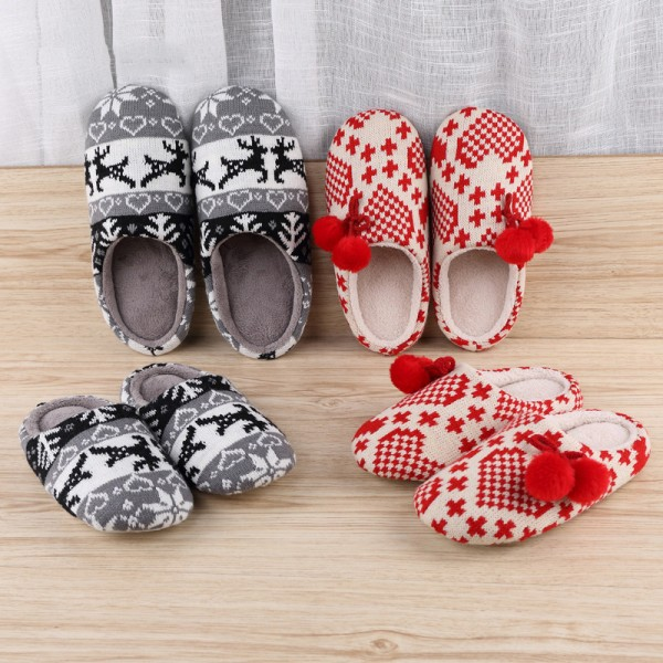 Cotton Knitted Slippers for Adults and Kids Pom Pom Scuff Slippers