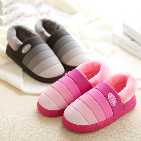 Rainbow Plush House Shoes for Women and Men Warm Slippers