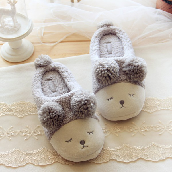 Sheepskin Scuff Slippers for Women and Men Pom Pom Sheep Animal Slippers