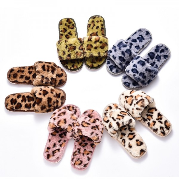 Womens Leopard Fuzzy Slippers Chic Ladies Open Toe Slides