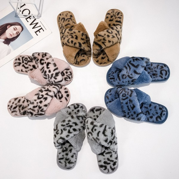 Women's Cross Band Slippers Leopard Crisscross House Fuzzy Slippers