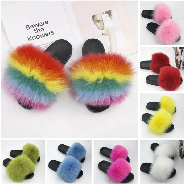 Rainbow Fox Fur Slides Chic Open Toe Outdoor Furry Slides