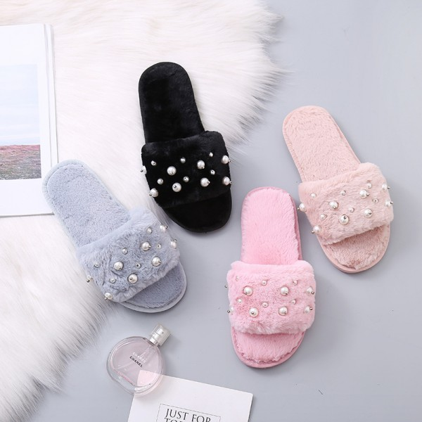 Fluffy Slides with Pearls Pink Fuzzy Women's House Slippers