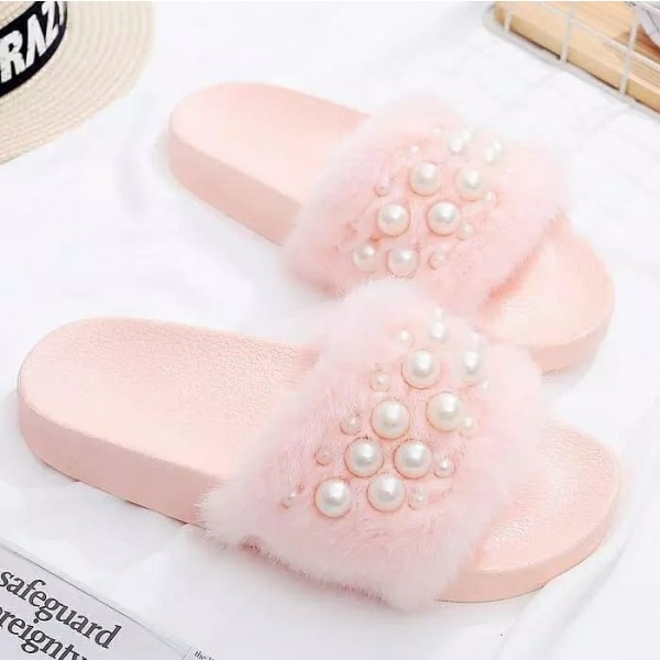 Chic Pink Slides with Pearls Women's Fuzzy Sandals