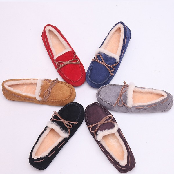 Women's Genuine Shearling Moccasins Suede Moccasin Slippers