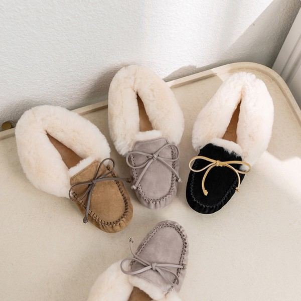 Women's Moccasin Slippers Foldover Moccasins with Lether Tie