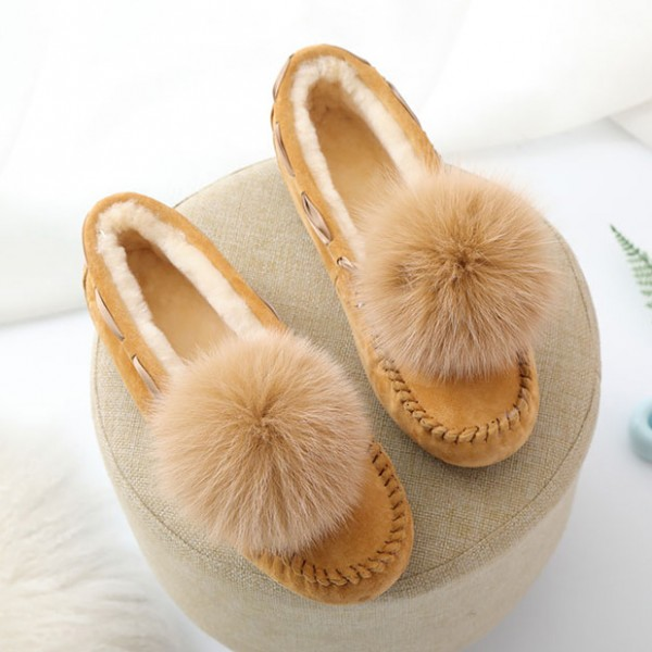 Women's Moccasin Slippers with Pom Pom Warm Shearling Moccasins
