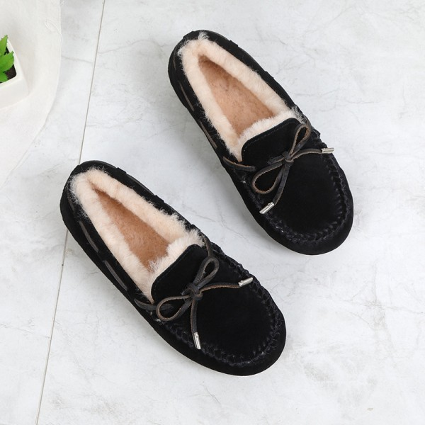 Women's Moccasins with Bow Tie Cozy Sheepskin Moccasin Slippers