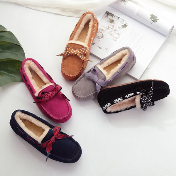 Women's Moccasin Slippers with Bow Tie Shearling Moccasins
