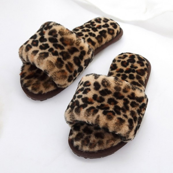 Genuine Women's Shearling Slippers Leopard Open Toe Fuzzy Slides