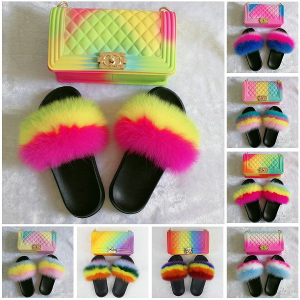 Rainbow Fur Slides with Matching Jelly Handbags