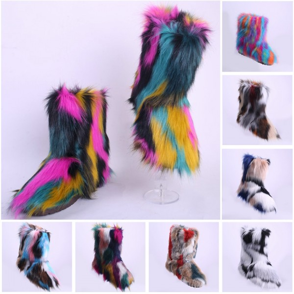 Fluffy Faux Fur Boots Rainbow Women's Short Winter Booties