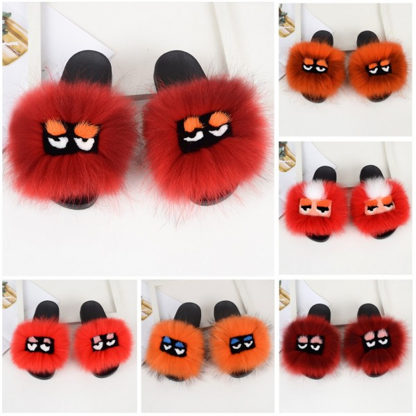 Women's Fox Fur Slides Cute Bird Eyes Flat Furry Slides