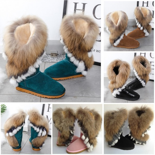 Women's Suede Boots with Asymmetrical Fur Trim Wide Calf Fluffy Booties