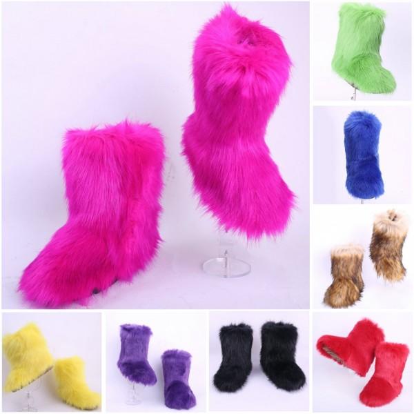 Women's Faux Fur Boots Chic Black Mid Calf Winter Boots