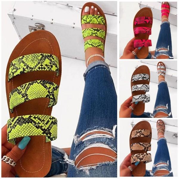 Women's Snakeskin Flat Sandals Chic Summer Open Toe Slides Slippers