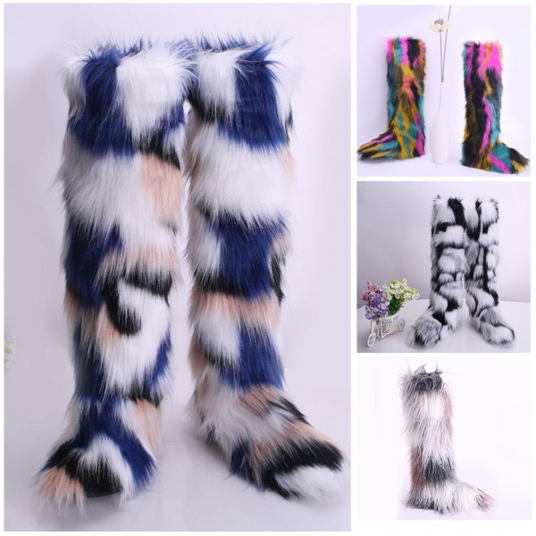 Women's Long Faux Fur Boots Rainbow Furry Over The Knee Boots