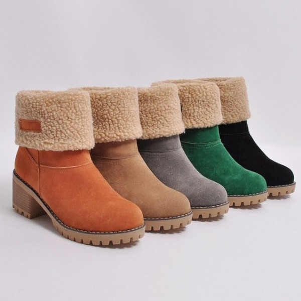 Women's Ankle Boots Fold-over Suede Warm Mid Heeled Winter Boots