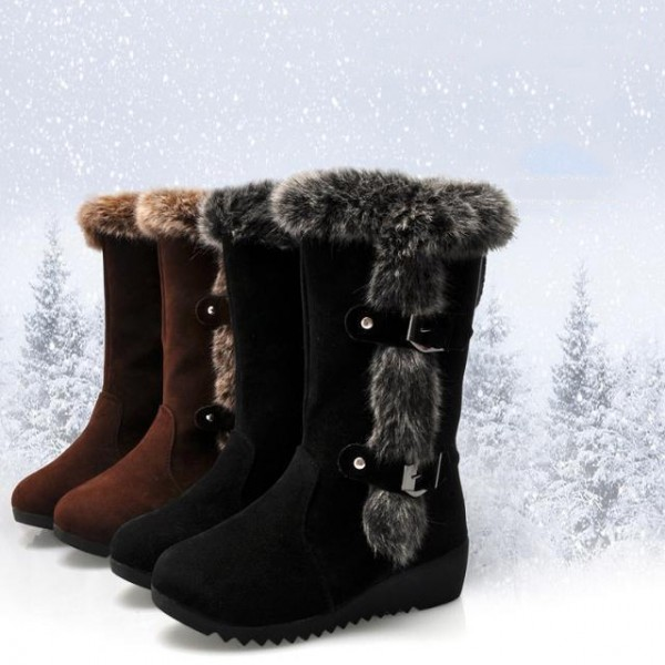 Women's Faux Fur Snow Boots Black Mid-Calf Wedge Winter Boots