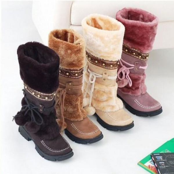 Women's Snow Boots Faux Fur Over Mid-Calf Pom Pom Winter Boots