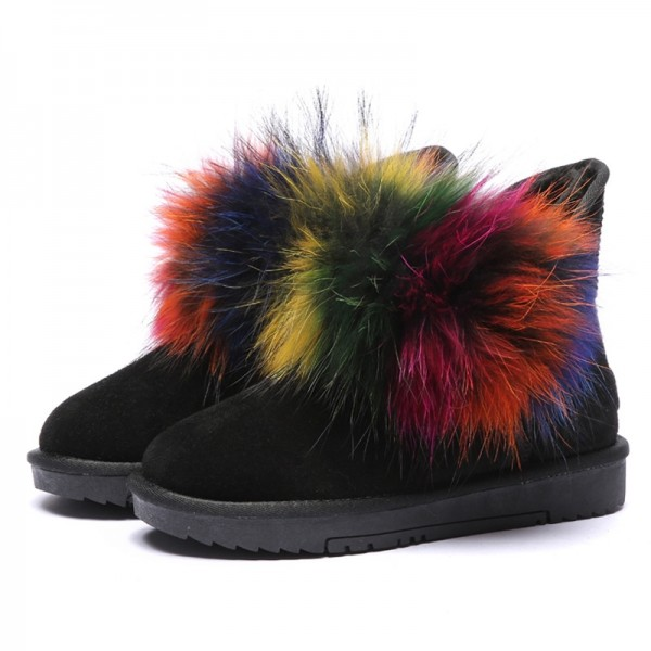 Women's Ankle Boots with Fluffy Rainbow Fox Fur Black Snow Boots