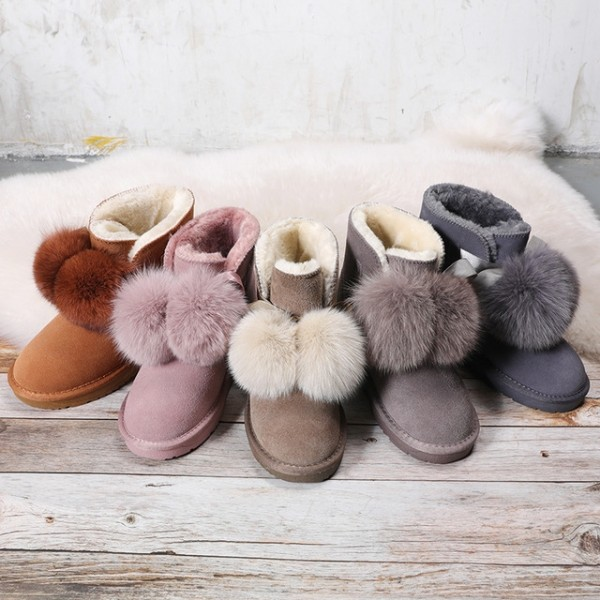 Cute Women's Snow Boots with Fox Fur Pom Pom Winter Ankle Boots