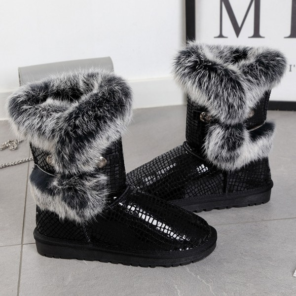Women's Black Boots Luxury Fur Leather Suede Mid Calf Snow Boots