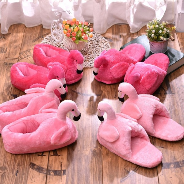 Cute Women's Flamingo Slippers Pink Fuzzy Flamingo House Shoes