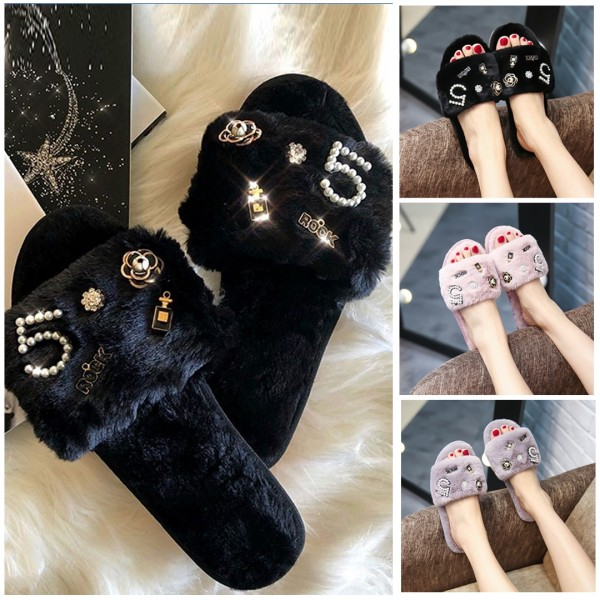 Fuzzy Black Slippers with Pearls N°5 Embellishments Women's Slides