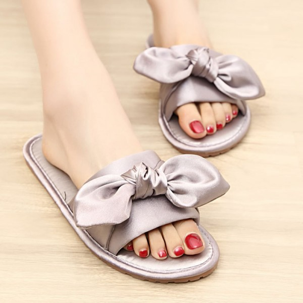 Womens Silk House Slippers with Bow Flat Memory Foam Slides for Wedding