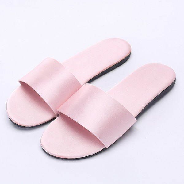 Womens Silk House Slippers Simple Ladies Pink Bedroom Slipper