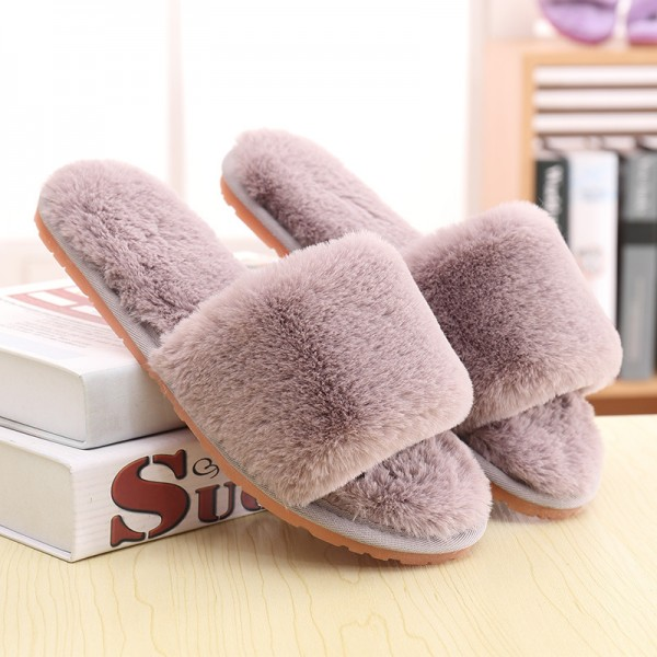Cozy Plush Womens Slippers Open Toe House Slippers