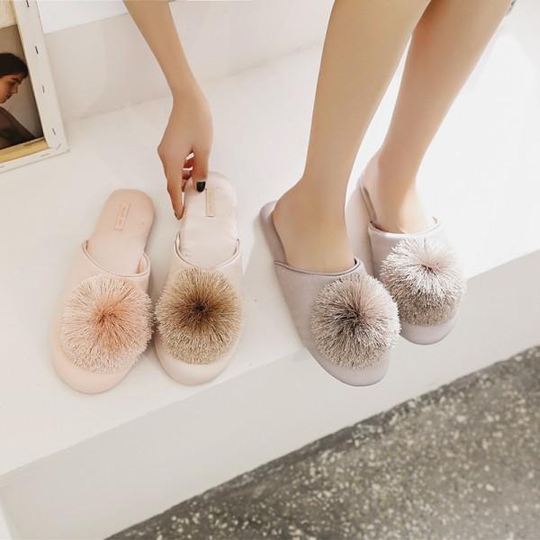 Womens Slippers Memory Foam Tassel Pom Pom House Slippers
