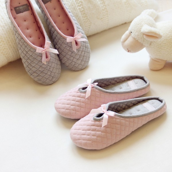 Women's Memory Foam Pink House Slippers with Bow