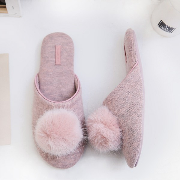 Cute Women's Pom Pom Slippers Cashmere Knit House Shoes for Ladies