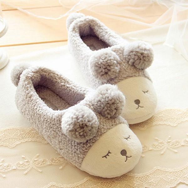 Cozy Women's Fleece Slippers Pom Pom Sheep House Shoes