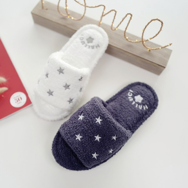 Cozy Fleece Womens House Slippers Open Toe Stars Fluffy Slides
