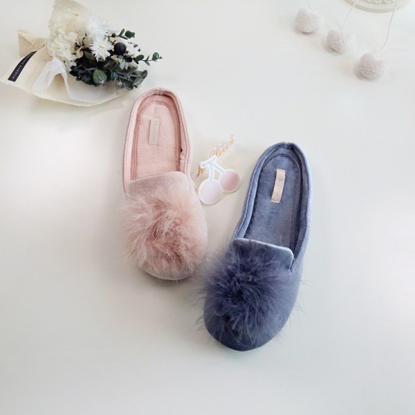 Women's Fuzzy Pom Pom Slippers Pink Velvet House Shoes